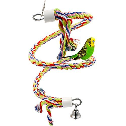 Rusee Vögel Spielzeug, Parrot Climbing Rope Sling, Schaukel Spielzeug, Spirale Stehen-Seil, Mittlere Regenbogen Cotton Rope Parrot mit Glocke