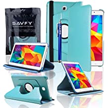 SAVFY - Samsung Galaxy Tab 4 7.0 T230/T231 Funda Cuero Entorno Gira 360° Case Cascara + Protector de Pantalla + Lápiz óptico Para Samsung Galaxy Tab 4 7.0 (Azul)