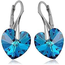 Crystals & Stones * Bermuda Blue * * Corazón * 14MM–925plata pendientes–pendientes con cristales de swarovski elements–Fantástica Pendientes con caja de regalo