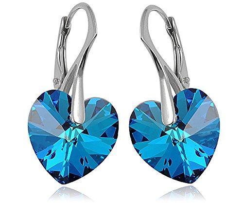 Crystals & Stones * Bermuda Blue * * Corazón * 14MM-925plata