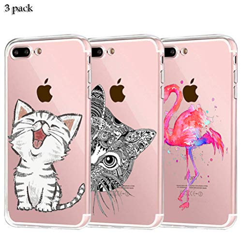 Yalixin [3 Stück] iPhone 7 Plus Hülle, iPhone 8 Plus Case Ultradünn Transparent TPU Phone Case Handyhülle für Apple iPhone 7 Plus/iPhone 8 Plus 5.5 Zoll - 2 Katzen, Flamingo
