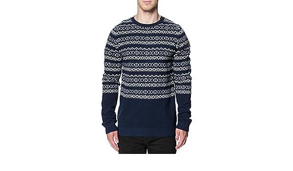 Mens Lindbergh Fashion Winter Ice Pattern Knit Wool Crew Neck Sweater Jumper