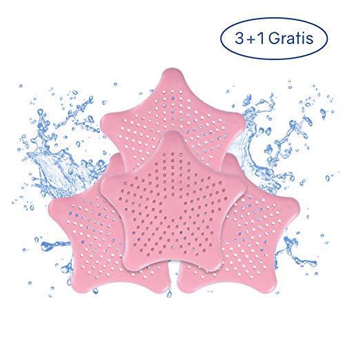 PaWa Abflusssieb - 3 + 1 Gratis - Duschstern aus Silikon - Haarsieb für Bad und Küche (Pink)