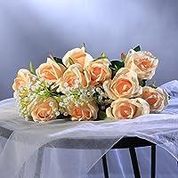 [Sponsorizzato]Veryhome Rose artificiali, ideali per le decorazioni in vaso, i matrimoni, i compleanni, per il giardino o i defunti, in seta, colore rosso, confezione da 10 pezzi Pack of 10,bend Champagne