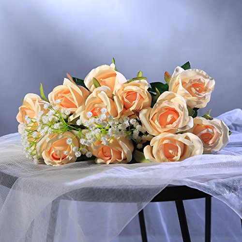 Veryhome rose artificiali, ideali per le decorazioni in vaso, i matrimoni, i compleanni, per il giardino o i defunti, in seta, confezione da 10 pezzi ,bend champagne