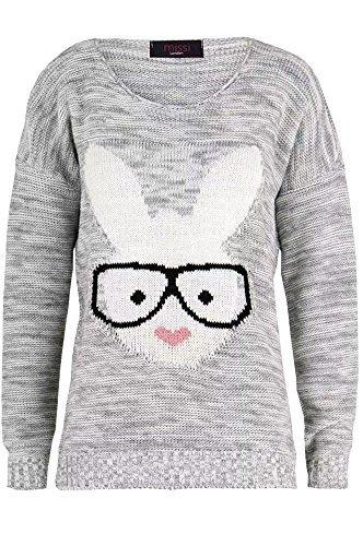 sans marque Haute pour DIVA 'S NEUF pour femme geek lapin lunettes lapin slip taille basse Pull 36 - 42 Gris