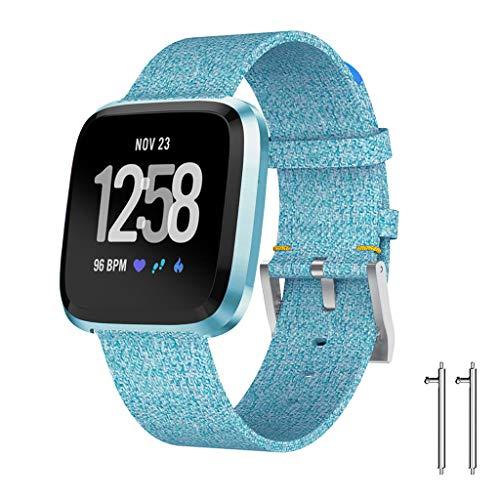 Canvas Smart Uhrenarmband (Chshe TM) Luxus-Gewebe-Ersatz-Uhrenarmband Wrist Straps For Fitbit Versa Lite(Blue) - Ersatz-gewebe