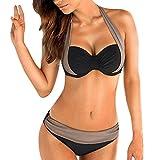 feiXIANG Damen Frauen Mehrfarbig Split Farbe Bikini Badeanzug Plus Größe Gepolsterte BH Bandeau Bademode Badeanzug Bikini (M, Grau)