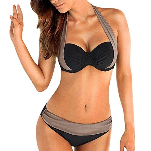 feiXIANG Damen Frauen mehrfarbig Split Farbe Bikini Badeanzug plus Größe gepolsterte bh bandeau bademode badeanzug bikini (L, Grau) (Pool Damen)