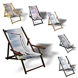 Printalio Selbstgestalten - Eigenes Motiv - Liegestuhl Bedruckt Balkon Garten Sonnenliege Relax Holz Terrasse | mit Armlehne, Natur