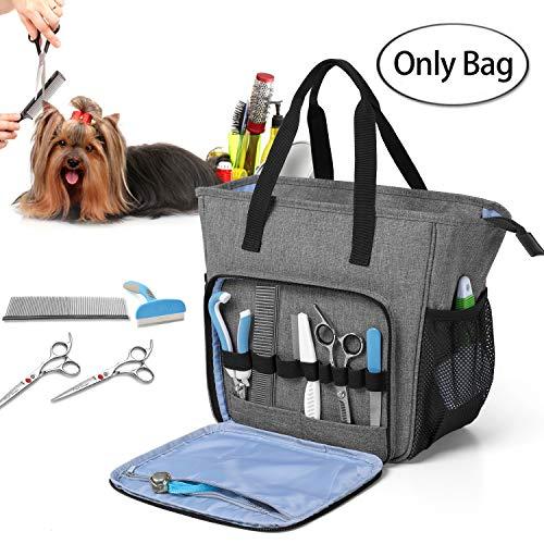 Teamoy Grooming Tasche für Hunde, Hundepflegeset Tasche für Hundepflegeknipser, Klauenpflege, Pflegebürste, Fellpflege Kamm, Shampoos und andere Haustierpflege Zubehörs, Grau