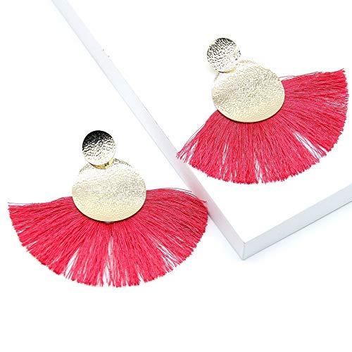 HLII Frauen Ohrringe Bohemian Style Aluminium Handgefertigte Perlen Quaste Lüfter Schmuck Ohrringe - Bronze-lüfter