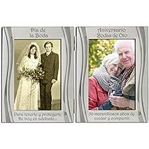 50 aniversario de bodas de oro plateado, con dorso de terciopelo, marco de marco