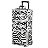 popamazing Professional 4 in 1 Hairdressing Makeup Vanity Case Beauty Cosmetics Trolley Rolling Cosmaticas Case Trolly (Zebra)