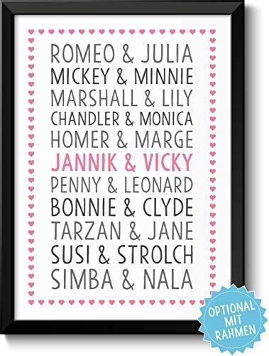 DU & ICH LIEBESPAARE Bild für Verliebte Ehepaare & Paare Rahmen optional Geschenkidee Geburtstag Jahrestag Hochzeitstag Valentinstag Frau Mann