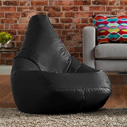 Sitzsack Stuhl Schwarz Highback Wasserfeste Sitzsäcke für den Innen- und Außenbereich, ideal für Spiel und Garten, keine Perlen. (black)