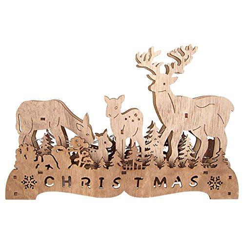 Hirsch mit Rehfamilie 30x20 cm - Holz Deko mit 6 LED - Weihnachtsdeko beleuchtet Fensterdeko
