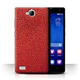 Stuff4 Hülle / Case für Huawei Honor 3C / Persisches Rot Muster / Leder Patch Effekt Kollektion