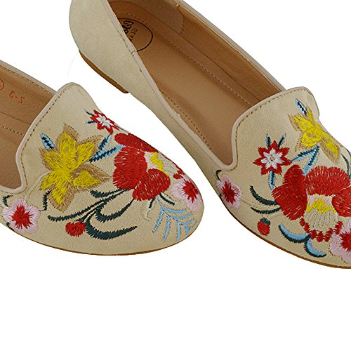 ESSEX GLAM Damen Flach Schuhe Bestickte Blumen Synthetik Ballerina Loafer Slipper Hautfarbe Wildlederimitat