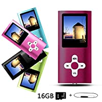 Btopllc 16GB MP3/MP4 Player,Digital Music Player,Portable Lossless Rechargeable Music Video Player,Sound Voice Record Music Player Picture view,Earphone and USB Cable - (red)