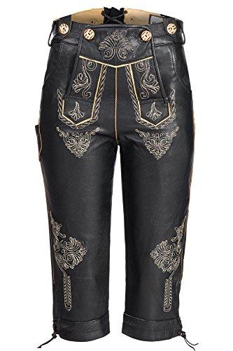 Feminine, Traditionelle Damen Trachten Kniebund Lederhose aus feinem Nappa mit aufwendig gearbeiteter Stickerei, Schwarz Gr.44