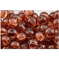 200pcs 4 mm in vetro cracklé color ambra