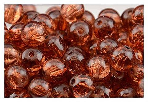 200Stück 4mm Bernstein Crackle Glasperlen in