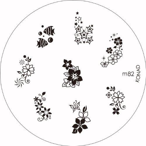 Konad 1Bild Platte wählen von M66, M57, M19, M12, M59, M82, M31, M21, M25, M70, + 2Way Nail Stempel + Schaber + klare Flugzeug Reise Kosmetiktasche (Bundle Of 3Artikel) - Platten Konad Set
