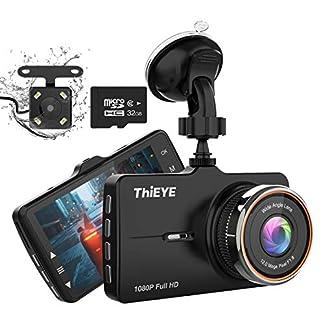 ThiEYE-Dashcam-Dual-Auto-Kamera-Full-HD-Vorne-1080P-Hinten-720P-Full-HD-mit-32-IPS-Bildschirm-32G-SD-Karte170Weitwinkelobjektiv-G-Sensor-WDR-Loop-Aufnahme-Parkmonitor