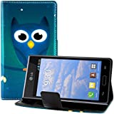 kwmobile Hülle für LG Optimus L7 P700 - Wallet Case Handy Schutzhülle Kunstleder - Handycover Klapphülle mit Kartenfach und Ständer Eule Nacht Design Blau Türkis