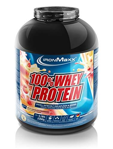 IronMaxx 100{485ca6ae6ea396b452a7d6e250c2b272f708e7c4b90f662f01579d784fcf5faf} Whey Protein - Whey Proteinpulver auf Wasserbasis - Eiweiß Pulver mit Erdbeere-Weiße Schokolade Geschmack - 1 x 2,35 kg Dose