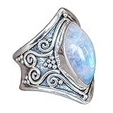 DAYLIN 1PC Bohemia Anillos Joyería Piedra preciosa Plata Anillo Para Hombre y Mujer (Plata, 21.4)
