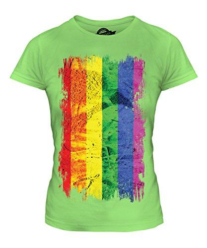 Candymix Gay Pride Grunge Flagge Damen T Shirt, Größe X-Small, Farbe Limettengrün - Ringspun-fußball-t-shirt