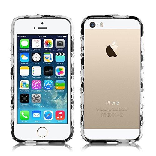 JAMMYLIZARD   Aluminium Bumper Hülle für [ iPhone 5 / 5s und iPhone SE ], SILBER Paisley SCHWARZ / WEIß