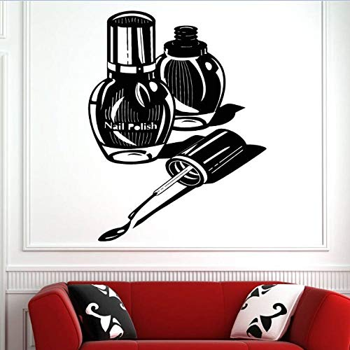 jiuyaomai Wand Fenster Aufkleber Nagel Wohnzimmer Dekoration Nagellack Maniküre Pediküre Wandaufkleber Abnehmbare Nail Shop Wandkunst Braun 57x74cm