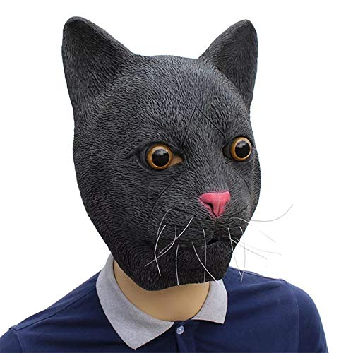 HAORONG Schwarze Katze Latex Vollkopf Maske Cosplay Halloween Kostüm Tier Party verkleiden Sich