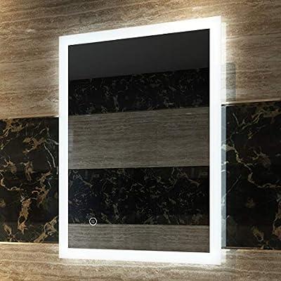 Duschdeluxe LED Badspiegel Badezimmerspiegel mit Beleuchtung Warmweissen Lichtspiegel Wandspiegel
