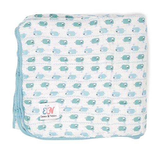 Newsbenessere.com 51yfo2KlTML Emma & Noah copertina per bebè, extra soffice e morbida, 100% cotone, dimensione 120 x 120 cm, a 4 strati, come coperta neonato, coperta da coccolare, coperta per culla, lettino, passeggino