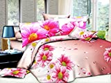 CUSHIONMANIA Housse de couette 3d Parure de lit avec housse de couette 3pcs Animal Fleurs de rose 55g/m² (King size, DE Tournesol)