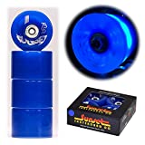 2017 Sunset Skateboards Blue 65mm Longboard LED Light-Up Wheels Set with ABEC-7 Carbon Steel Bearings (4-Pack)