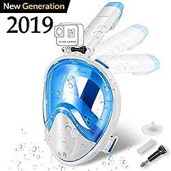 Zerhunt Tauchmaske,Panorama Schnorchelmaske Vollgesichtsmaske,mit 180° Sichtfeld und Abnehmbarer Kamerahaltung, Anti-Fog und Anti-Leck für Erwachsene(WaißBlau)