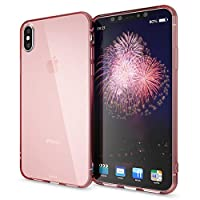 NALIA Silicone Case compatible with iPhone XS Max, Ultra-Thin Clear Back-Cover Shockproof See Through Cover Protector, Transparent Rugged Protective Slim-Fit Gel Smart-Phone Bumper, Color:Rose Gold