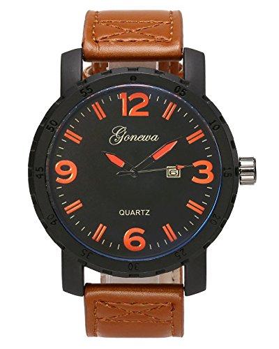 JSDDE Uhren,Herren Minimalistische Quarz Uhr mit Datumsanzeige Wasserdicht Leder Band Kleid Uhr Sportuhr für Männer,Braun