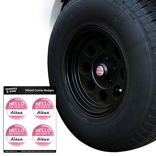 Alexa Hello My Name Is Tire Rad Center Gap resin-topped Abzeichen Aufkleber