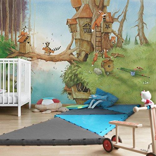 *Kindertapeten – Vliestapeten – Wassili und Familie Fuchs – Fototapete Breit Vlies Tapete Wandtapete Wandbild Foto 3D Fototapete, Größe HxB: 190cm x 288cm*