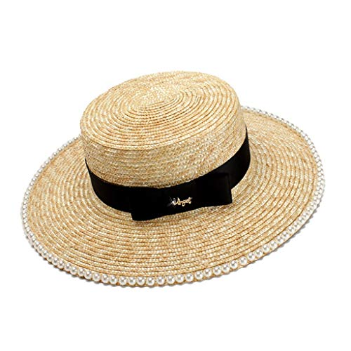 Sonnenhut Straw Pearl Black Satin Ribbon Bow Große Flache Flache Sonnenschirm Strand -