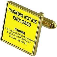 Pena de aparcamiento aviso Tono Oro gemelos Crystal Gift Set Clip de corbata