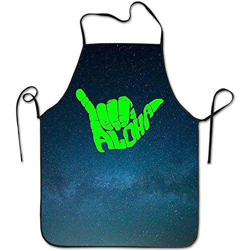 Ruajlt Aloha Hand Hawaii Symbol Adjustable Bib Apron Adult Home Kitchen Apron Chef Apron for Men And Women
