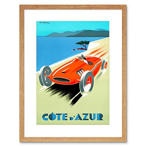 TRAVEL COTE D'AZUR FAST CAR SPEED CONVERTIBLE FRANCE SEA FRAMED PRINT B12X7931