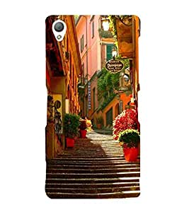 For Sony Xperia Z3 :: Sony Xperia Z3 Dual :: Sony Xperia Z3 D6633 beautiful city ( beautiful city, light, road, homes, home, stairs ) Printed Designer Back Case Cover By TAKKLOO